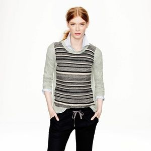 J. Crew Striped Wool Rabbit Hair Pullover Sweater